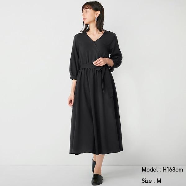カシュクールワンピース(7分袖)Z+X-BLACK
