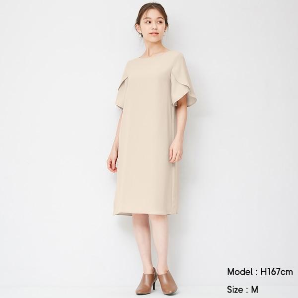 フレアスリーブサックドレス(5分袖)Z+X-BEIGE