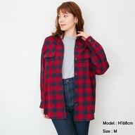 フランネルオーバーサイズチェックシャツ(長袖)E+X