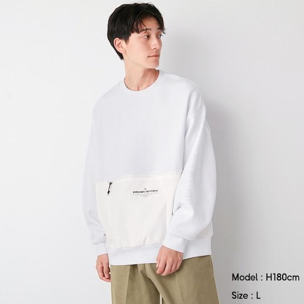 コンビネーションビッグスウェットシャツ(長袖)NT+E-WHITE