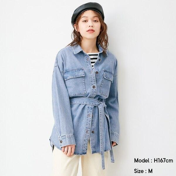 デニムオーバーサイズシャツ(長袖)SD+E-BLUE