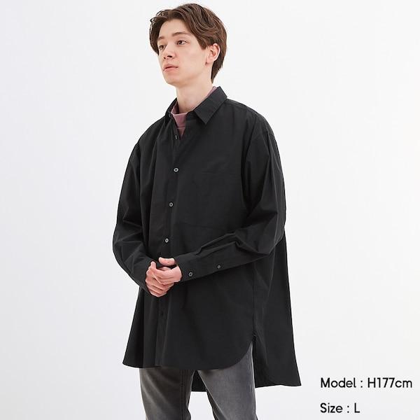 ブロードオーバーサイズシャツ(長袖)-BLACK
