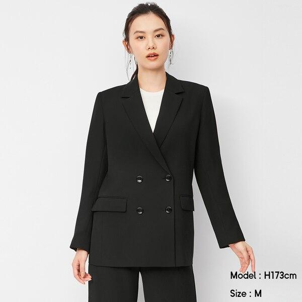 ダブルブレストジャケット(セットアップ可能)-BLACK