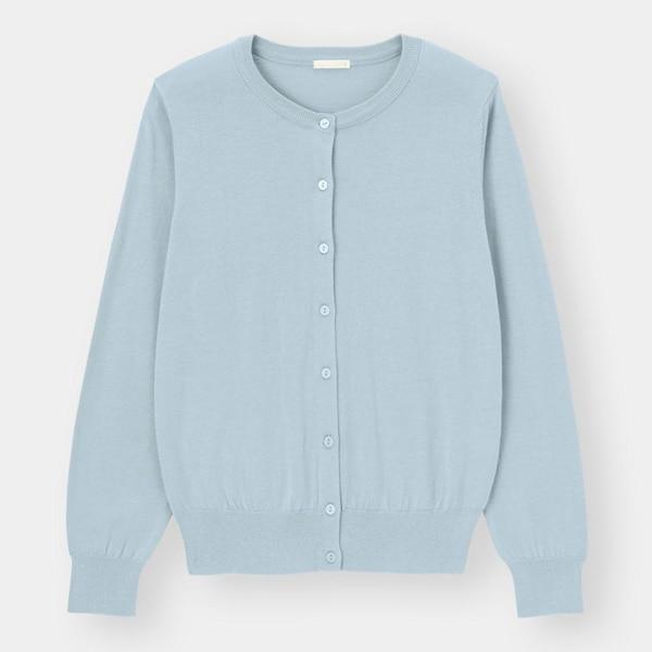 UVカットウォッシャブルクルーネックカーディガン(長袖)-BLUE