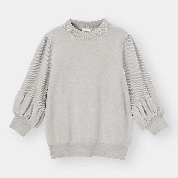 プリーツスリーブセーター(7分袖)Z-GRAY