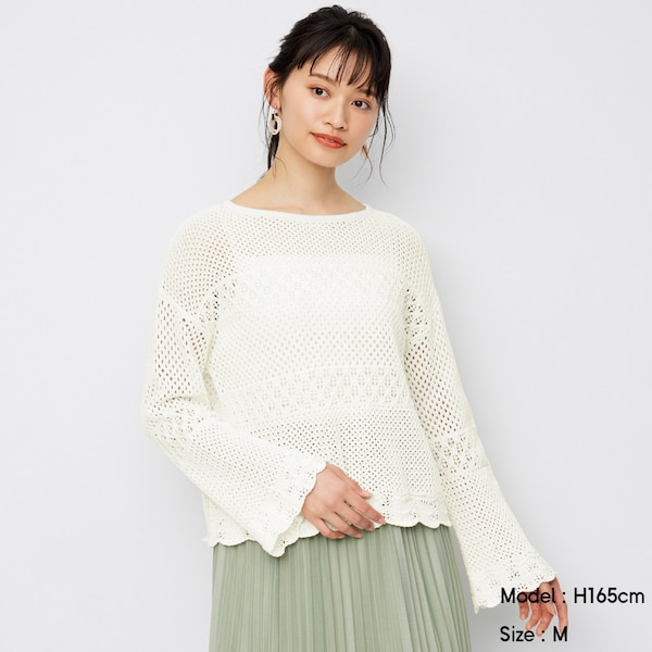 レーシースカラップセーター(長袖)SD+E-OFF WHITE