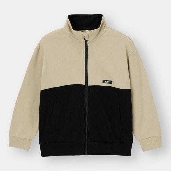 BOYSバイカラートラックジャケット(長袖)-BEIGE