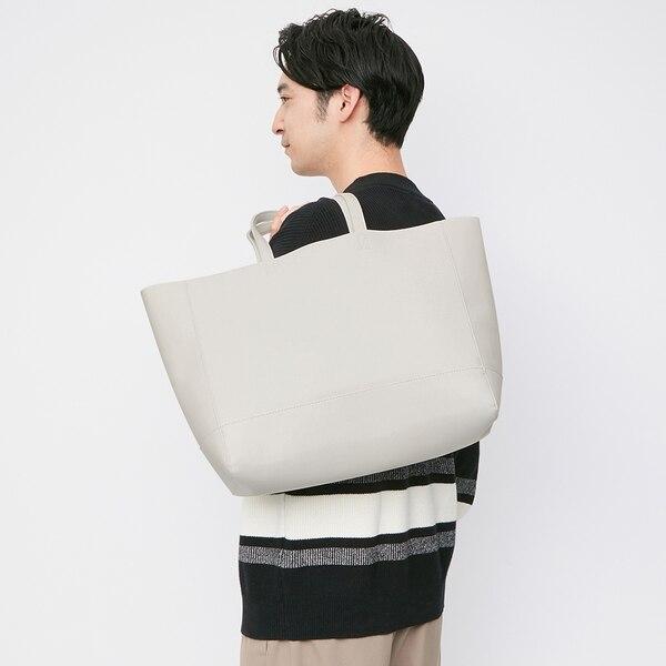 レザータッチトートバッグ+E-GRAY