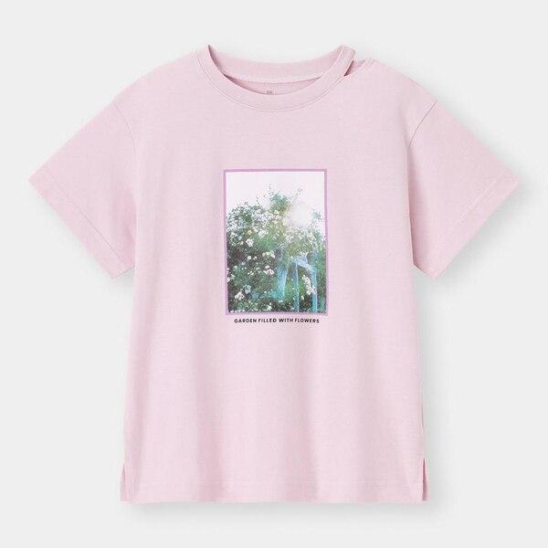 GIRLSネックスリットフォトT(半袖)-PINK