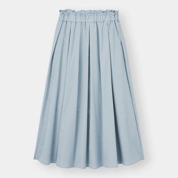 タックギャザーフレアロングスカート+E-LIGHT BLUE