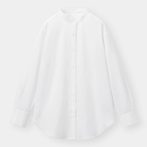 バンドカラーロングシャツ(長袖)-OFF WHITE