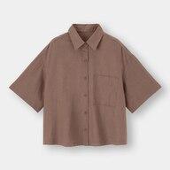 リネンブレンドオーバーサイズシャツ(5分袖)(セットアップ可能)