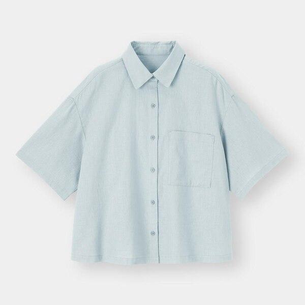 リネンブレンドオーバーサイズシャツ(5分袖)(セットアップ可能)-BLUE