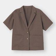 ライトオーバーサイズシャツジャケット(5分袖)(セットアップ可能)