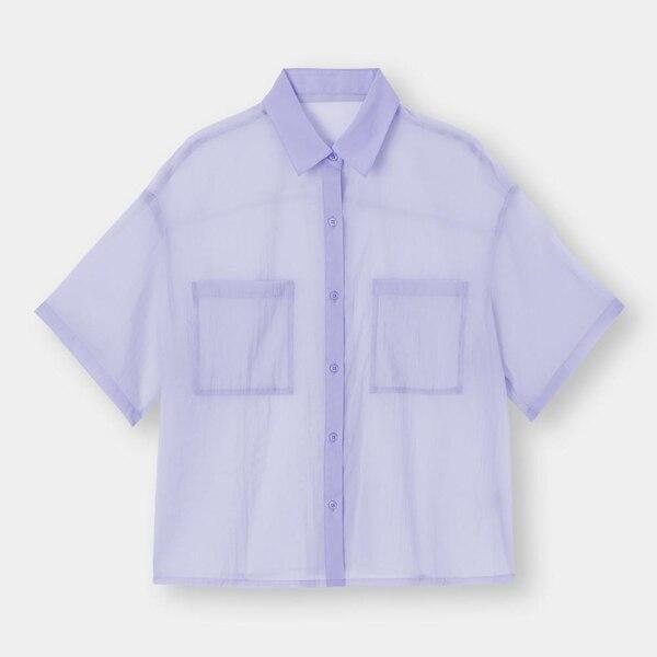 シアーオーバーサイズシャツ(5分袖)-PURPLE