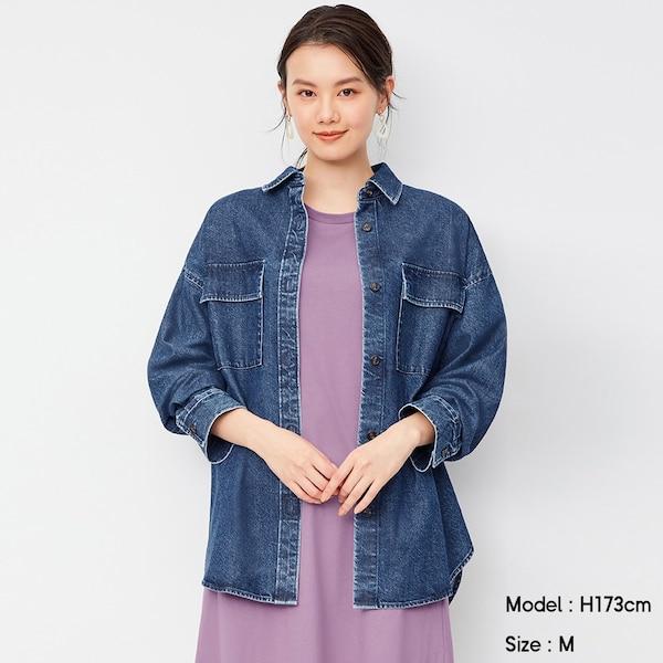 デニムダブルポケットオーバーサイズシャツ(長袖)-BLUE
