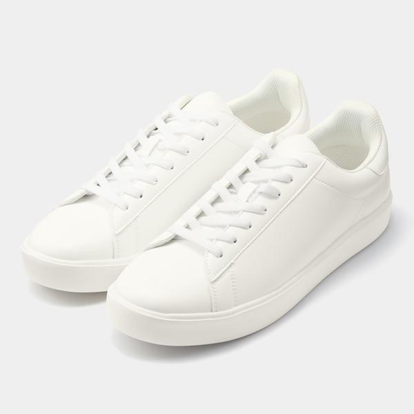 ライトソールレザータッチスニーカー-WHITE