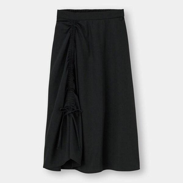 ドローストリングフレアスカートYG+E-BLACK