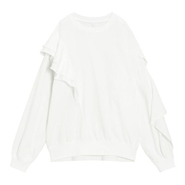 GIRLSアシンメトリーフリルT(長袖)JR-OFF WHITE