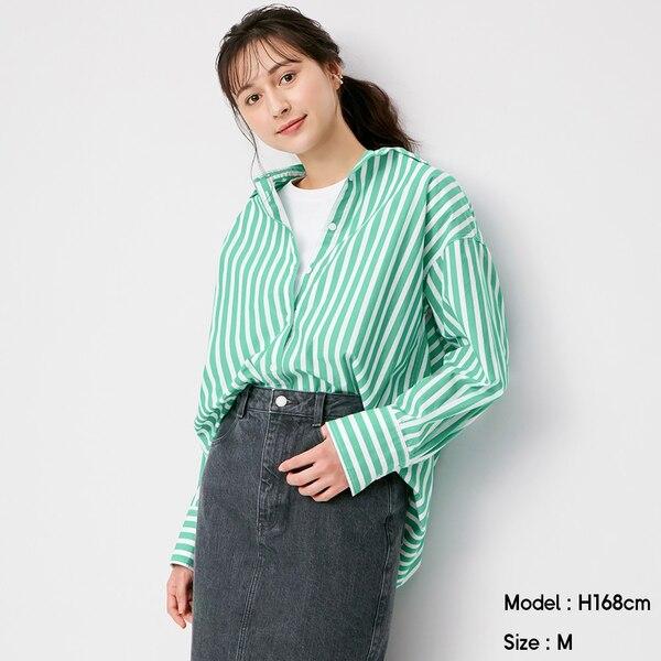 ストライプオーバーサイズシャツ(長袖)SD+E-GREEN