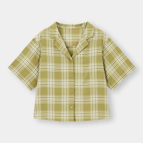 チェックオープンカラーシャツ(5分袖)SD+X(セットアップ可能)-YELLOW