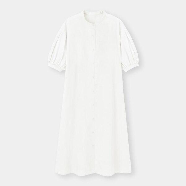 バンドカラーシャツワンピース(5分袖)Q-OFF WHITE