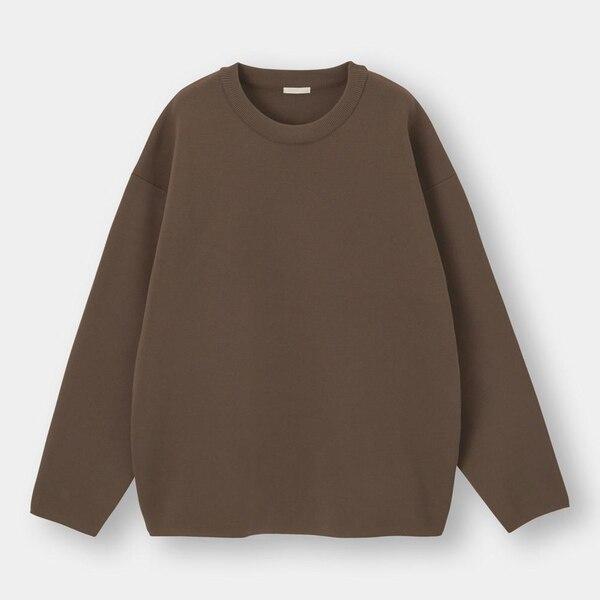 ミラノリブクルーネックセーター(長袖)-DARK BROWN