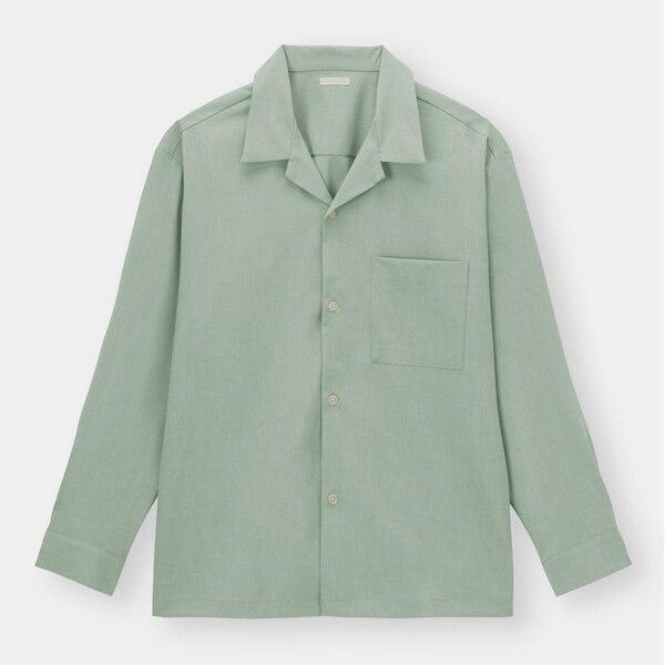 オープンカラーシャツ(長袖)-LIGHT GREEN