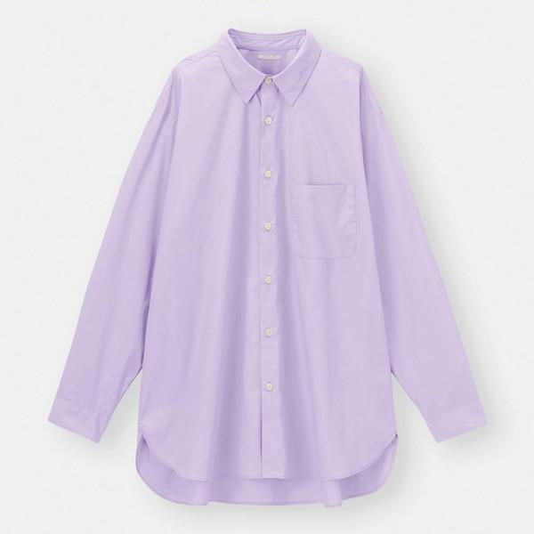 ブロードオーバーサイズシャツ(長袖)-PURPLE