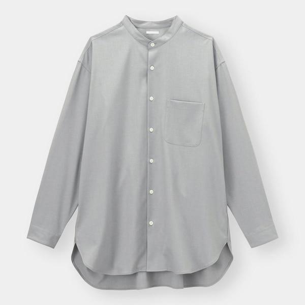 オーバーサイズバンドカラーシャツ(長袖)(セットアップ可能)-GRAY