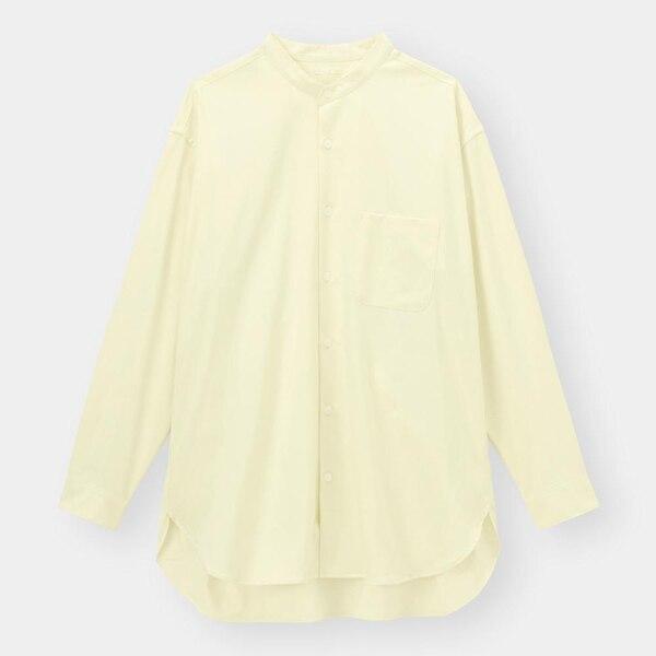 オーバーサイズバンドカラーシャツ(長袖)(セットアップ可能)-CREAM