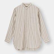 ブロードオーバーサイズバンドカラーシャツ(長袖)(ストライプ)