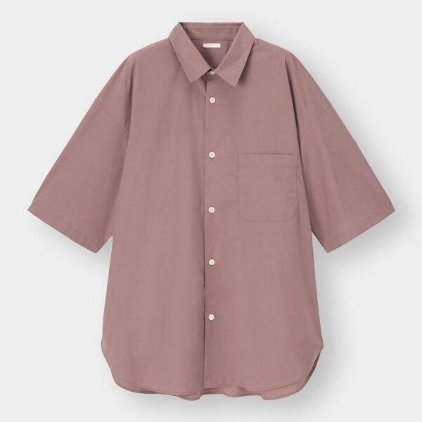 ブロードオーバーサイズシャツ(5分袖)-WINE