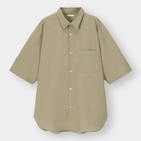 ブロードオーバーサイズシャツ(5分袖)-KHAKI