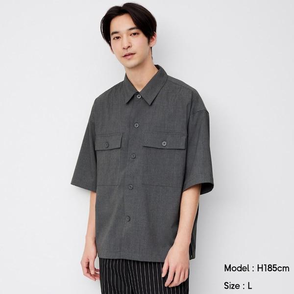 ダブルポケットワイドフィットシャツ(5分袖)-GRAY