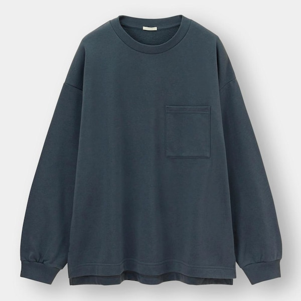 ワイドフィットスウェットシャツ(長袖)-BLUE