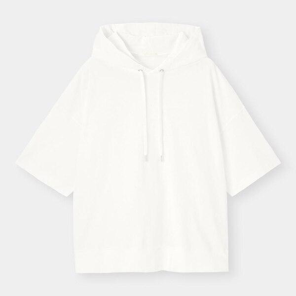 ワイドフィットプルパーカ(5分袖)-WHITE
