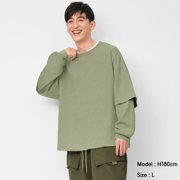 ワイドフィットレイヤードスウェットシャツ(長袖)NT+E-GREEN