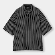 ドライポンチポロシャツ(5分袖)(ストライプ)NT+E