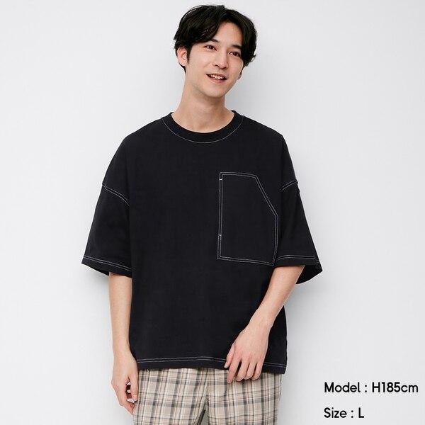 ワイドフィットT(5分袖)(ステッチ)NT+E-BLACK