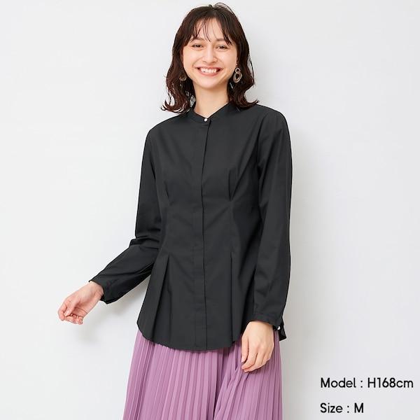 ビジューボタンシャツ(長袖)Z+E-BLACK
