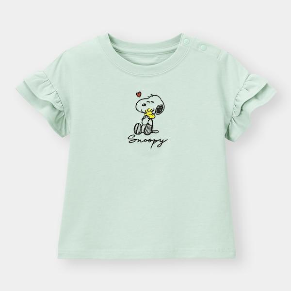 BABY(TODDLER)GIRLSフリルT(半袖)Peanuts +E-GREEN