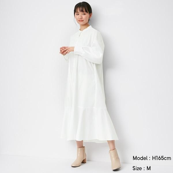 バンドカラーシャツワンピース(長袖)+X-WHITE