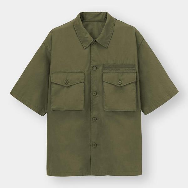 ミリタリーオーバーサイズシャツ(5分袖)+X-OLIVE