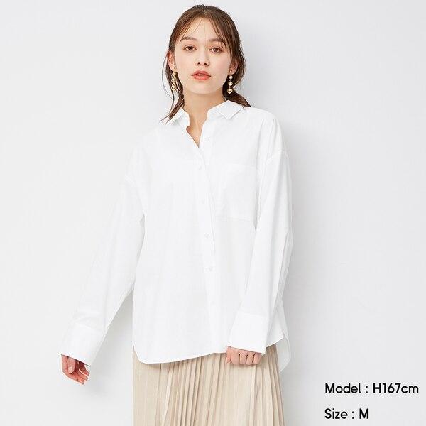 オーバーサイズロングシャツ(長袖)-WHITE