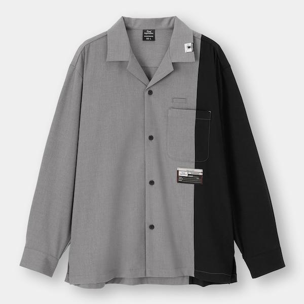 オープンカラーシャツ(長袖)MY(セットアップ可能)-GRAY