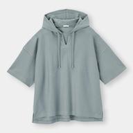 ワイドフィットキーネックパーカ(5分袖)NT+E