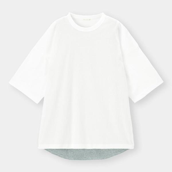 レイヤードビッグT(5分袖)Q-WHITE