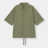 オーバーサイズコーチシャツ(5分袖)Q(セットアップ可能)