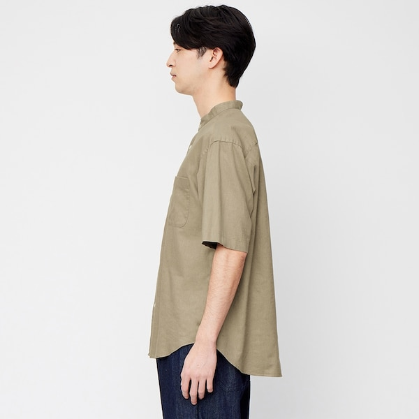 リネンブレンドバンドカラーシャツ(5分袖)+X